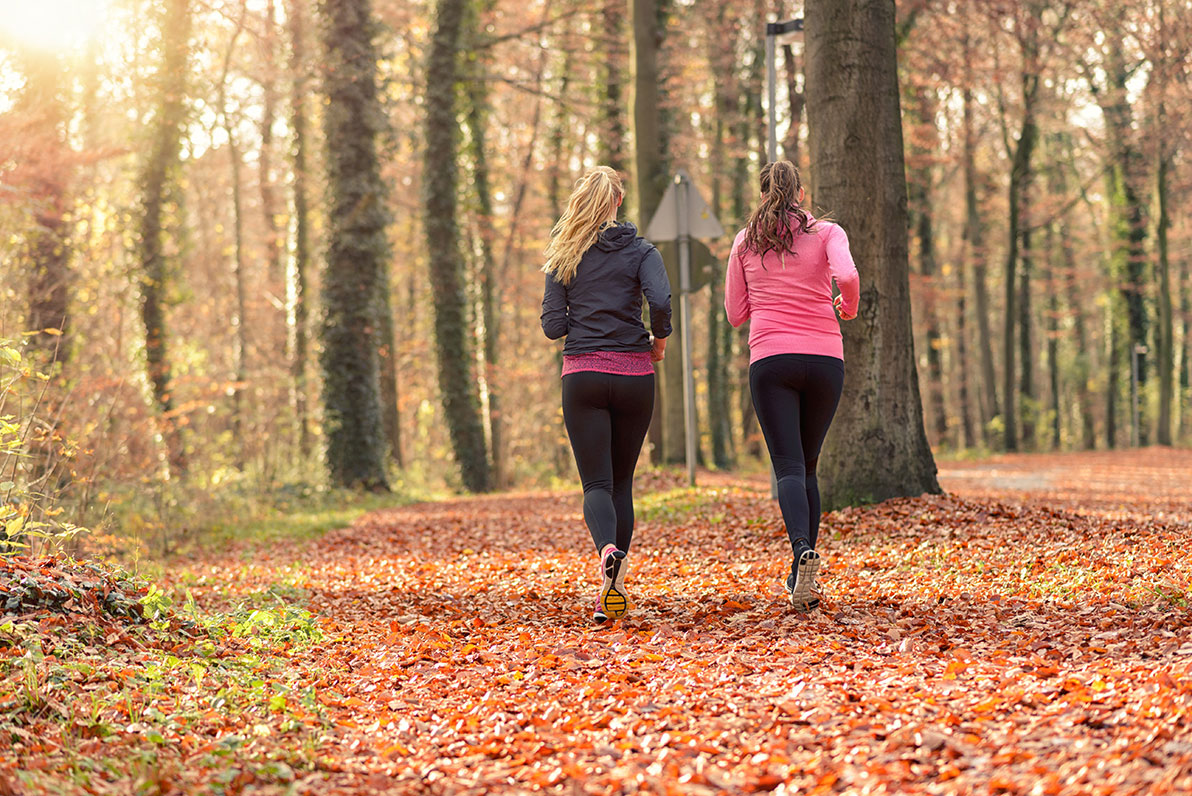 Two women jogging